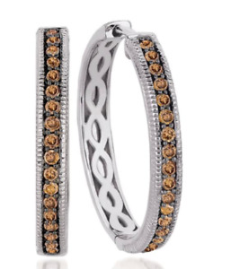 LeVian Chocolate Diamonds Earrings Hoops 58 ct  0.68 ct 14K White Gold NEW