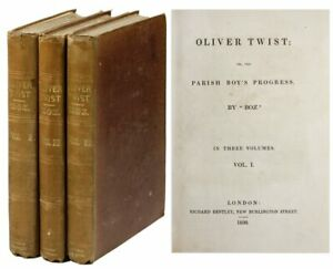 Charles Dickens-OLIVER TWIST (1838)-1ST ED 1ST ISSUE 3 VOLS. VG UNRESTORED