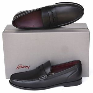 BRIONI New sz US 9 Mens Authentic Designer Leather Dress Loafers Shoes black