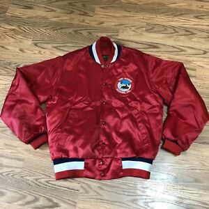 Vintage Red Satin Swingster jacket Mens M USA Sno-Riders Redding Ca Patch