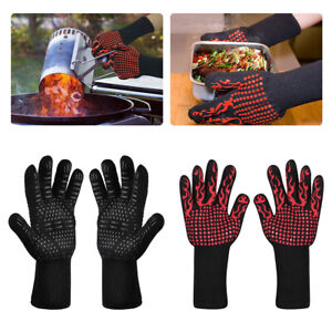 932°F Silicone Extreme Heat Resistant Cooking Oven Mitt BBQ Hot Grilling Gloves
