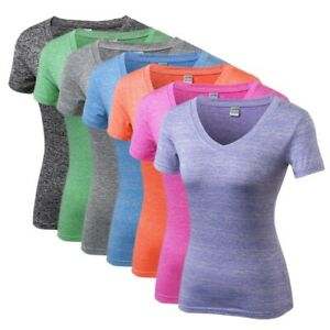 Women Sports Gym Workout T-Shirt Short Sleeve Quick Dry Yoga Fitness Tops US