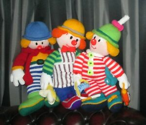 3 x Large Knitted Clowns The Red Nose Gang Mr Forty Winks OYummy Bertie Bloomer
