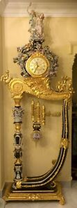 9' Tall Antique Sevres Style Gilt Bronze and Porcelain French Pendulum Clock!!