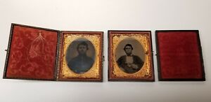 CIVIL WAR TINTYPES 6TH PLATEARMED WITH PISTOL1 HAS LOCK OF HAIRSAME SOLDIER