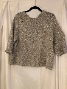 J. Crew LARGE chunky thick turtleneck sweater GRAY  knit