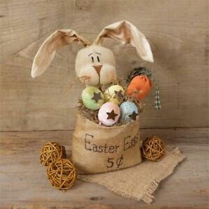 NEW Primitive Easter Bunny Rabbit Doll In Burlap Bag quot;Easter Eggs 5 Centsquot; $21.99