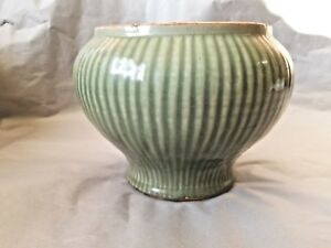 Antique Chinese Yuan Dynasty Longquan Celadon Ribbed Jar Ex Sotheby's New York
