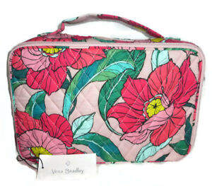 Vera Bradley Large Blush and Brush Vintage Floral Travel Makeup Cosmetic Case
