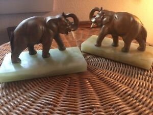 vintage bronze metal Elephant book Ends