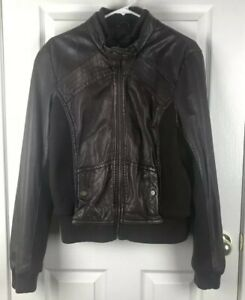 Anthropologie Idra Women's Size Large Brown Leather Jacket Cafe Racer Moto Zip