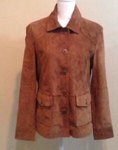 LL Bean Women's Jacket Size Large Regular Brown Suede Leather Button Up Coat