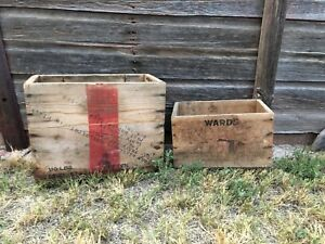 Vintage Western Cartridge Wood Ammo Crate Box USA Set Two Shown