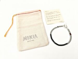 NEW Mikia Japan Sterling Silver Plated Black Onyx Stone Bracelet Red White Beads