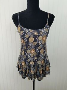 Melrose And Market Cross Back Navy Floral Peplum Top Small