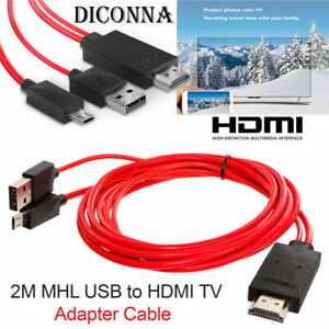 MHL Micro USB to HDMI 1080P HD TV Cable Adapter 2M For Universal Android Phone