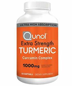 Turmeric Curcumin Softgels Qunol with Ultra High Absorption 1000mg Joint Suppo