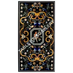8'x4' Rectangle Black Marble Dining Table Top Floral Marquetry Inlay Decor E629A