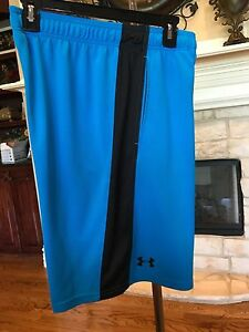 MENS ATHLETIC SHORTS BLUE LOOSE FIT ELASTIC WAIST POCKETS BY UNDER ARMOUR SZ M e