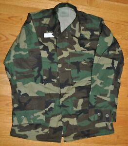 Army Military Combat Woodland Camouflage Hot Weather Coat BDU Small-Regular
