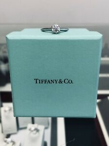 Auth. Tiffany & Co. Platinum .47ct Diamond Solitaire Engagement Ring w Papers