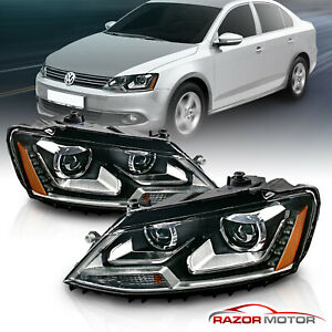 [LED DRL] Fit 2011-2017 VW Jetta MK6 Black Clear Projector Headlights