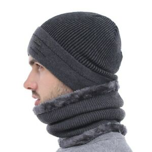 AKIZON Skullies Beanies Men Scarf Knitted Hat Cap Male Plus Gorras Bonnet Warm
