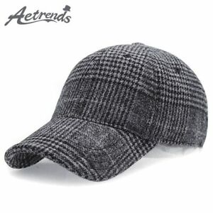 [AKIZON] 2018 New Winter Plaid Woolen Baseball Cap Men Women Cotton Snapbacks
