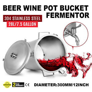 Brewing Stainless Bucket Fermentor 7.5Gallon Conical Bottom Fermenter