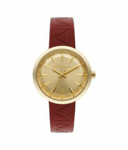 Karl Lagerfeld Womens KL1623 Belleville Gold Tone St St Embossed Leather Watch $78.20