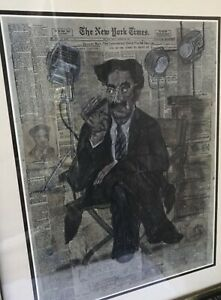 Very Rare Vintage Groucho Marx Framed Blu Art