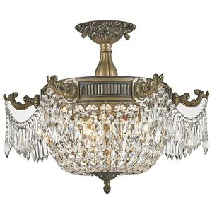 Winchester 3 Light Antique Bronze Clear Crystal Semi Flush Mount Ceiling Light