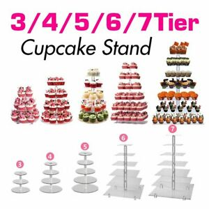 3-7 Tier Acrylic Square Round Cupcake Tea Party Serving Platter For Wedding