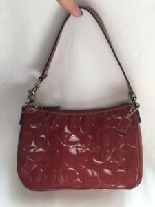 COACH Red Patent Leather Monogram Purse