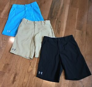 Lot of 3 Boys Under Armour Golf Shorts Loose Fit Youth Small - Black Blue Tan