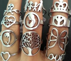 20pcs Top design Mix Women#x27;s Silver Stainless Steel Charm Rings Party Gift Favor