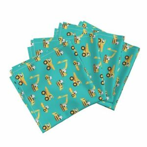 Construction Yellow Dump Truck Digger Cotton Dinner Napkins by Roostery Set of 4