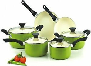 10 pc Cookware Set Pots And Pans Green Non-Stick Ceramic Coating Cooking Kitchen