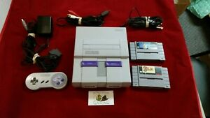 Super Nintendo SNES Console W 2 games Mario World Zelda link to the past
