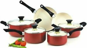 Cookware Set Pots And Pans Red Non-Stick Ceramic Coating 10 pc Cooking Kitchen
