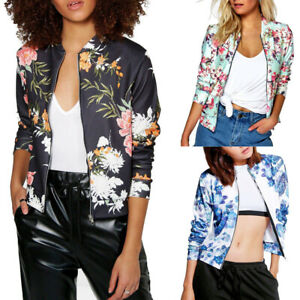 Fashion Womens Ladies Retro Floral Zipper Up Bomber Jacket Casual Coat Out #US