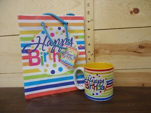 Happy Birthday Porcelain Mug with Box and Gift Bag Included