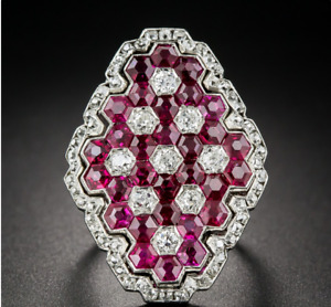 Magnificent Art Deco 4.00ct Ruby & 1.50ct Pretty CZ 925 Sterling Silver Ring