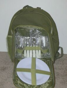 Insulated Green Picnic Backpack Cooler For 2 mc