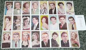. Cinema & TV Stars Reprint complete 24 card set with unnumbered checklist