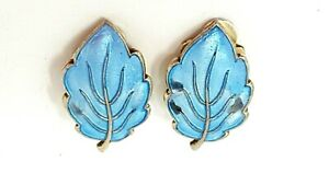 NORWEGIAN NORWAY ANDRESEN amp; SCHEINFPLUG 925S ENAMEL BLUE LEAF EARRINGS C1960#x27;S