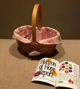 Longaberger 1999 Horizon Of Hope Basket with Fabric Liner & Tie-on Great!