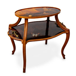 Émile Gallé Marquetery Dragonfly Handles Table with Mother of pearl ca  1900