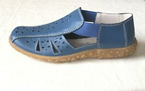 coolers womens blueberry blue leather closed toe summer sandals us 7 $55.00
