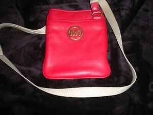 Michael Kors Red Cross Body Leather Purse Handbag Canvas Adjustable Strap